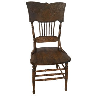 20th Century Americana Carved Foliage Barley Twist Side Chair For Sale
