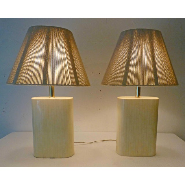 1970s Karl Springer Tessellated Bone Lamps With Original Rope Shades - A Pair For Sale - Image 5 of 11