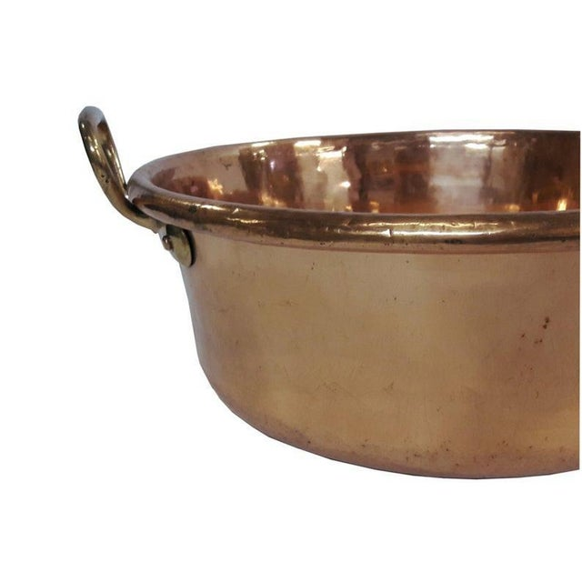 French Country Antique French Copper Basin Confisier French Country Kitchen Large Copper Basin For Sale - Image 3 of 6
