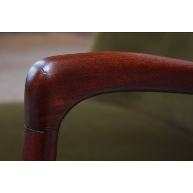 Mid-Century Italian Modern Sculpted Walnut and Velvet Lounge Chair For Sale - Image 9 of 13