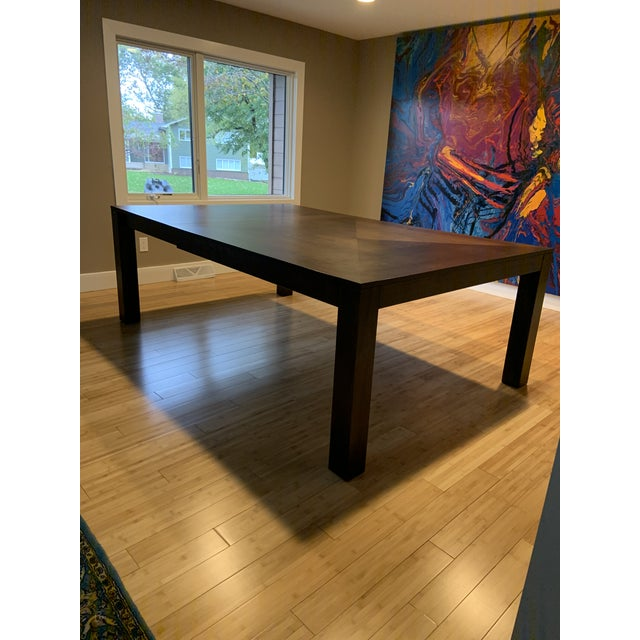 Modern Dining Table & Leather Chairs For Sale In Boston - Image 6 of 9