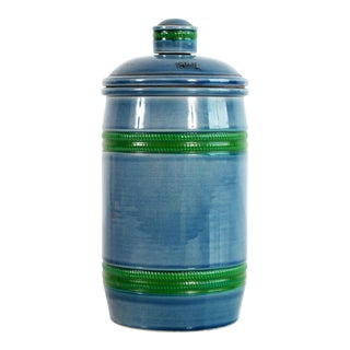 Italian Baldelli Mid Century Modern Blue & Green Art Pottery Humidor For Sale
