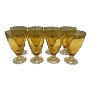 Early 20th Century Vintage Amber Water/Wine Glasses - Set of 8 For Sale