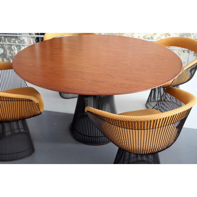 1960s Original Walnut and Bronze Dining Set With 4 Chairs by Warren Platner for Knoll For Sale - Image 5 of 13
