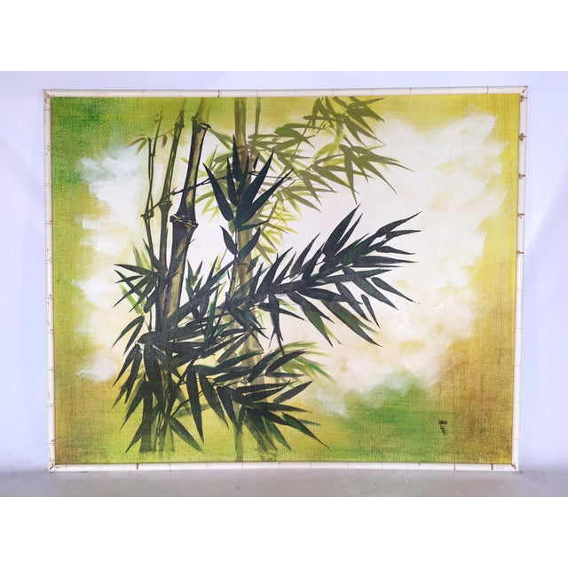 This oversized framed painting by 1970's artist Wing Lee makes a bold statement in any Hollywood Regency decor. Asian...