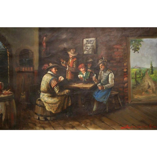 Traditional 1930s Vintage Signed Oil on Canvas Genre Painting For Sale - Image 3 of 8