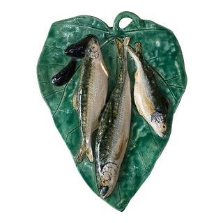 1900 Majolica Palissy Fishs Wall Renoleau Platter For Sale