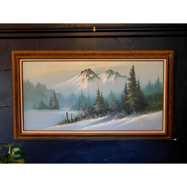 """Blue Mid 20th Century """"A Winter Landscape"""" Oil Painting, Framed For Sale - Image 8 of 8"""