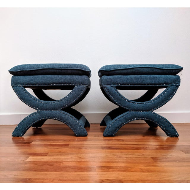 Boho Chic Regency-Style Sculptural Ottomans, a Pair For Sale - Image 3 of 8