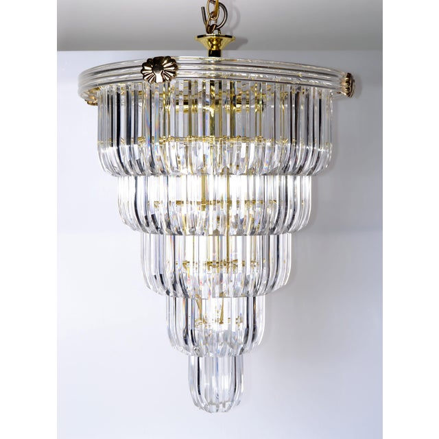 Brass & Lucite Chandelier - Image 5 of 9