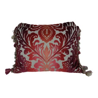 Pair of Cut Velvet Accent Pillows W/ Tassel Trim For Sale