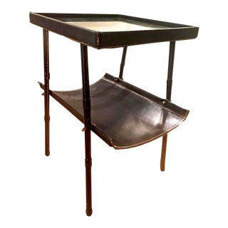 Jacques Adnet Two-Tier Side Table and Magazine Rack in Black Leather For Sale