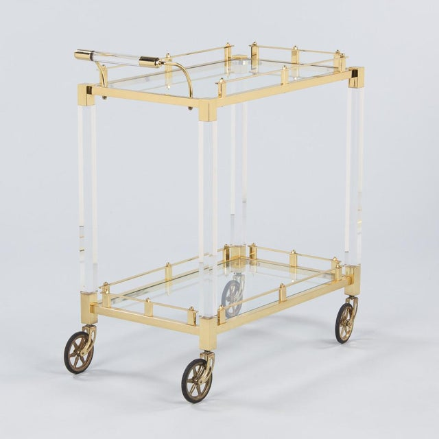 1970s Spanish Lucite and Brass Bar Cart For Sale - Image 11 of 11