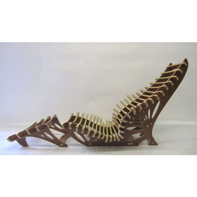 Sculptural Vertebrae Chaise and Ottoman Set For Sale - Image 5 of 5