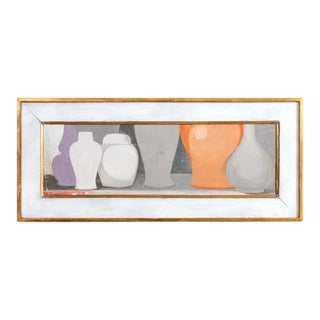 Late 20th Century Vase Still Life Acrylic Painting by Peter Woodward, Framed For Sale