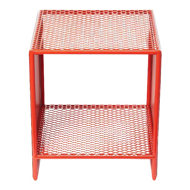 Sabin outdoor orange square archipelago table chairish for Orange outdoor side table