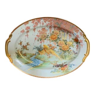 Hand Painted 1920s Bird Serving Platter, One of a Kind For Sale
