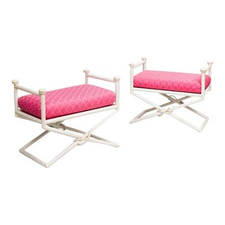 Pair Hollywood Regency X-Base Benches For Sale