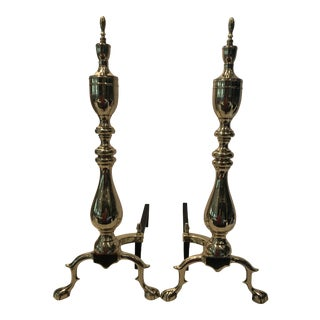 Vintage Chippendale Style Brass Andirons - a Pair For Sale