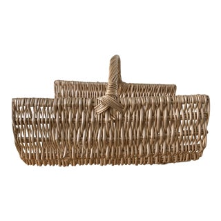 Large Natural Wood or Magazine Basket For Sale