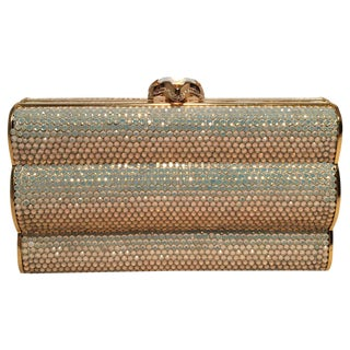 Judith Leiber Iridescent Swarovski Crystal Gold Minaudiere Evening Bag Clutch For Sale