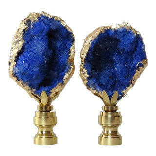 Lapis Blue Geode Finials With 14kt Gold by C. Damien Fox For Sale