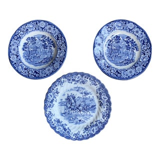 English Scenic Blue and White Bread Plates - Set of 3 For Sale