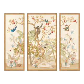 A Jungle Gathering by Allison Cosmos, Set of 3, in Gold Framed Paper, Medium Art Print For Sale