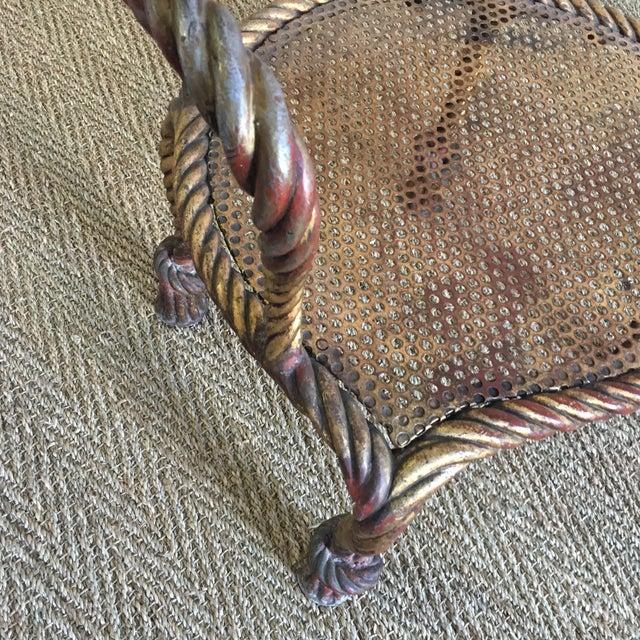 Vintage Italian Tole Metal Rope Chair - Image 7 of 11