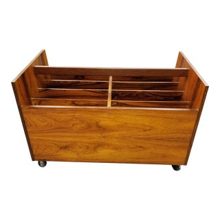 Mid-Century Modern Rolf Hesland for Bruksbo Rosewood Record Cart Trolley For Sale