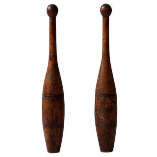 Antique Indian Juggling Clubs - a Pair