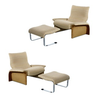 Saporiti Italia Chrome Lounge Chairs & Ottomans by Giovanni Offredi For Sale