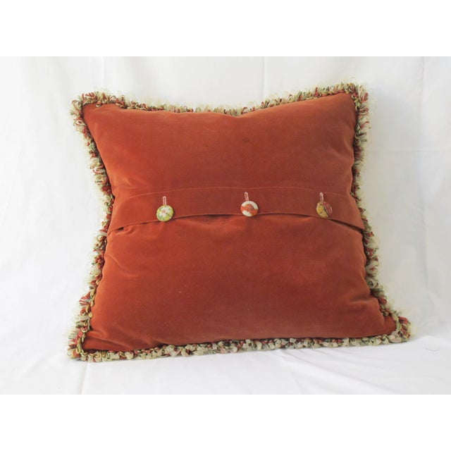 Boho Chic Vintage Printed Linen Pillow For Sale - Image 3 of 4