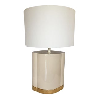 Gold and Beige Ceramic Table Lamp For Sale
