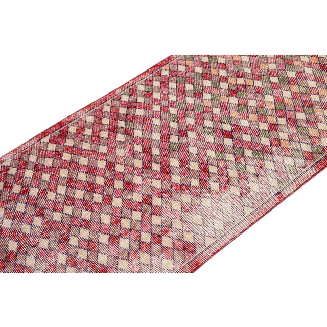 Textile Mid 20th Century Vintage Art Deco Wool Runner Rug For Sale - Image 7 of 13