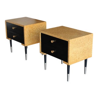 Paul Frankl Cork Nightstands for Johnson Furniture Circa 1955 - a Pair For Sale