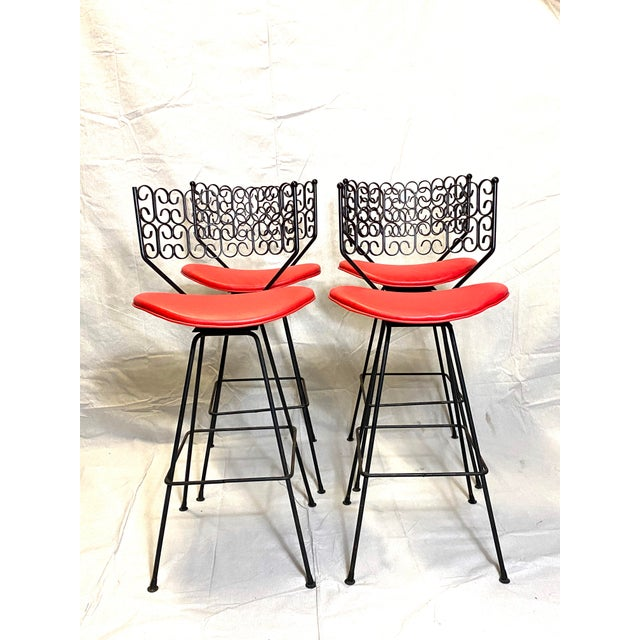 Wow Arthur Umanoff for Grenada Collection Iron Swivel Counter Bar Stools W/ Original Red Cushions For Sale - Image 10 of 10