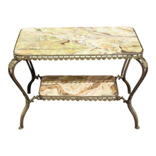 Long French Maison Jansen Two-Tier Bronze Coffee Table With Green Onyx Circa 1940s