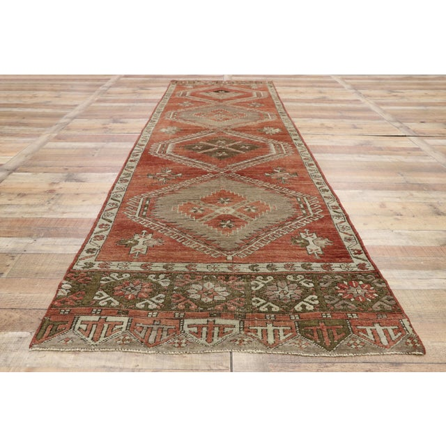 Textile Vintage Turkish Oushak Runner - 3′6″ × 13′1″ For Sale - Image 7 of 10