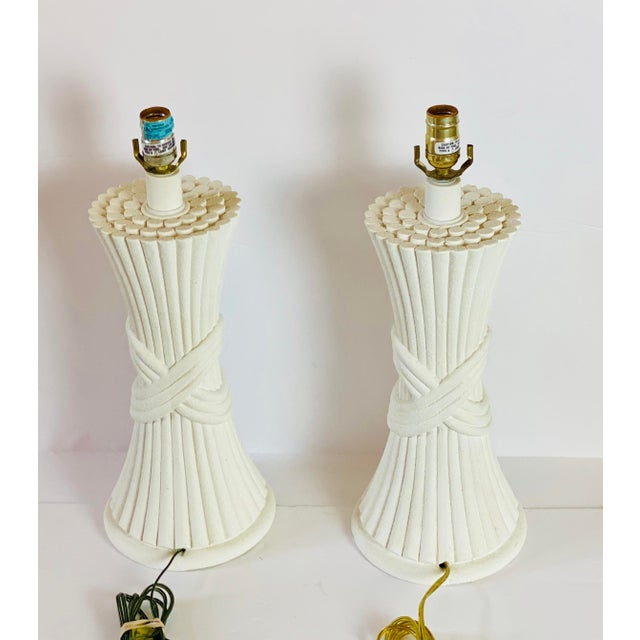 Plaster 1970s Sculptural Plaster White Table Lamps - a Pair For Sale - Image 7 of 8