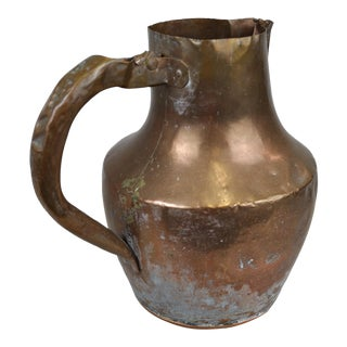 Vintage French Hammered Copper Pitcher For Sale