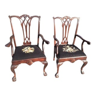 Early 20th Century Vintage Mahogany Chippendale Style Armchairs- A Pair For Sale