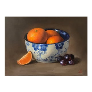 Original Oil Painting of Mandarins in the Bowl For Sale