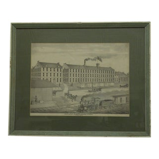 "Vintage Matted and Framed Print ""Excelsior Mower and Reaper Works"", Akron Ohio, 1880"