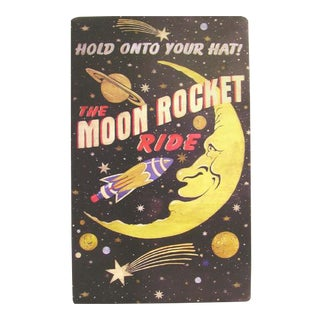 Rustic Vintage Arcade Space Moon Rocket Ride Tin Metal Sign