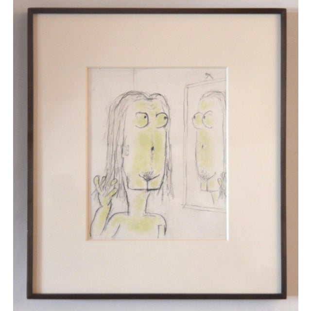 Illustration William Anthony Pencil Drawing on Paper 'Magritteing the Mirror' For Sale - Image 3 of 5