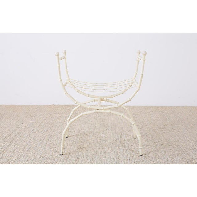 Mid-Century Modern Midcentury Italian Faux Bamboo Vanity Stool or Bench For Sale - Image 3 of 13