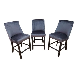 Restoration Hardware French Barrelback Stools Newly Upholstered - Set of 3 For Sale