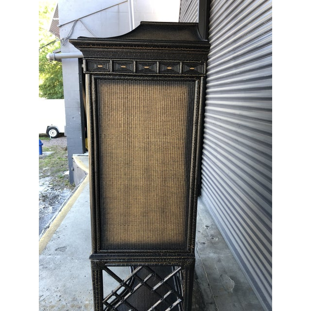 Asian Chinoiserie Rattan Pagoda Style Tv Cabinet Armoire For Sale - Image 3 of 13