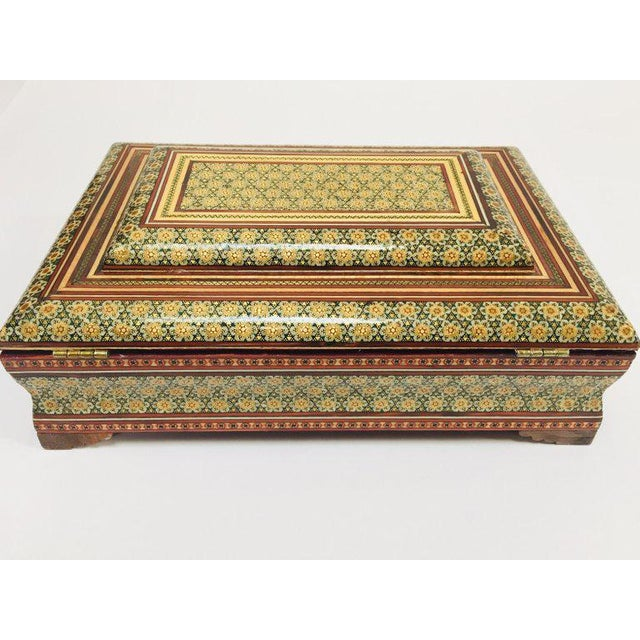 Red Large Persian Jewelry Mosaic Khatam Inlaid Box For Sale - Image 8 of 13